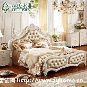 林氏木业法式床 奢华1.8米田园皮床 欧式床家具现货KA610