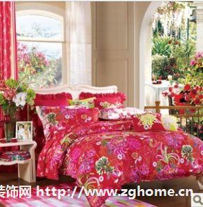富安娜家纺 婚庆床上用品 纯棉床单四件套全棉 醉美良缘