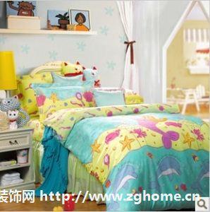 富安娜家纺正品 床上用品 平网印花纯棉儿童卡通床单四件套 小海盗