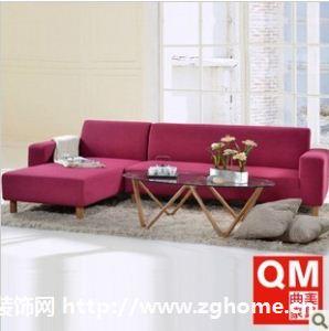 曲美家具 客厅布艺沙发 实木框架 炫彩组合转角沙发